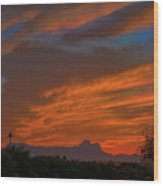 Sombrero Peaks Sunset H9 Wood Print