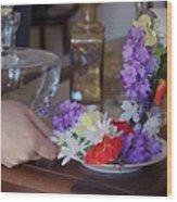Some Floral Tea? Wood Print