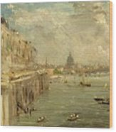 Somerset House Terrace From Waterloo Bridge Wood Print by John Constable