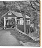 Somerset One Lane Bridge Black And White Wood Print