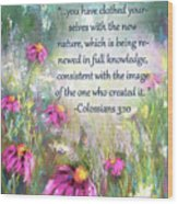 Song Of The Flowers With Bible Verse Wood Print
