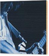 Sonic Blue Guitar Explosions Wood Print