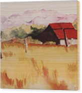 Sonoma Wheatfield Wood Print by Patricia Halstead