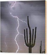 Sonoran Desert Monsoon Storming Wood Print