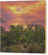 Sonoran Desert Sunset Op46 Wood Print