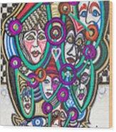 Sooooooo Many Faces Wood Print