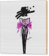 Sophisticated In Pink And Black Silk  Wood Print