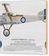 Sopwith Triplane Prototype - Side Profile View Wood Print