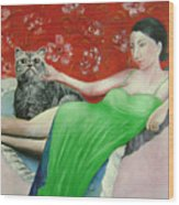 Sorcerer And Her Cat Wood Print