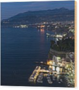 Sorrento Bay At Night Wood Print
