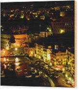 Sorrento Harbor At Night Wood Print