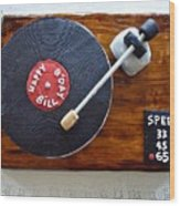 Record Player Cake Wood Print