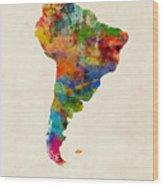 South America Watercolor Map Wood Print