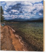 South Beach At Priest Lake Wood Print