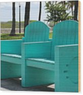 South Beach Bench Wood Print