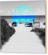 South Beach Blues Wood Print