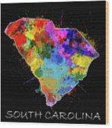 South Carolina Map Color Splatter 2 Wood Print