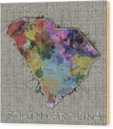 South Carolina Map Color Splatter 5 Wood Print