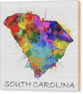 South Carolina Map Color Splatter Wood Print