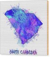 South Carolina Map Watercolor 2 Wood Print