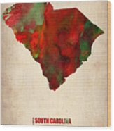 South Carolina Watercolor Map Wood Print
