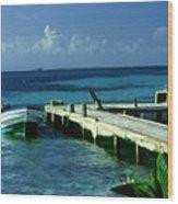 South Caye Belize Boat Dock Wood Print