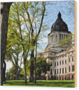South Dakota Capitol Oil Painting Wood Print