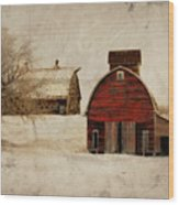 South Dakota Corn Crib Wood Print