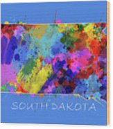 South Dakota Map Color Splatter 3 Wood Print