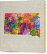 South Dakota State Map 02 Wood Print
