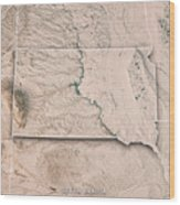 South Dakota State Usa 3d Render Topographic Map Neutral Border Wood Print