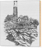 South Fork Lighthouse L I N Y  Bw Wood Print