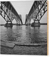 South Grand Island Bridge In Black And White Wood Print