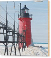 South Haven Pierhead Light Wood Print