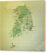 South Korea Map Square Cities Straight Pin Vintage Wood Print