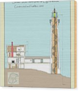 South Manitou Island Lighthouse Color Drawing Wood Print