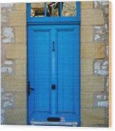 South Of France Rustic Blue Door  Wood Print