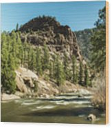 South Platte In Heavy Spring Flows And Wind Wood Print