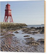 South Shields Groyne Wood Print