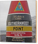 Southermost Point Of U. S. A. Buoy Marker Wood Print