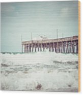 Southern California Pier Vintage 1950s Picture Wood Print by Paul Velgos