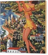 Southern California - United Air Lines - Retro Travel Poster - Vintage Poster Wood Print
