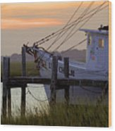 Southern Shrimp Boat Sunset Wood Print