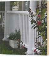 Southern Summer Flowers And Porch Wood Print
