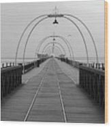 Southport Pier At Sunset With Walkway And Tram Lines Wood Print