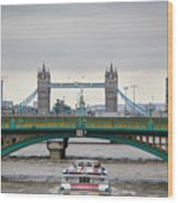 Southwark Bridge And The Tower Bridge Wood Print