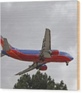Southwest Airlines 737 On Approach Into Las Vegas Nv Wood Print