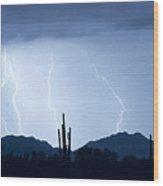 Southwest Desert Lightning Blues Wood Print