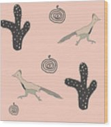 Southwest Design In Pink- Roadrunner And Cactus Wood Print
