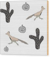 Southwest Design Roadrunner And Cactus Wood Print